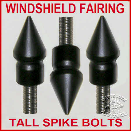 Black Spike Windshield Faring Bolts (TALL)